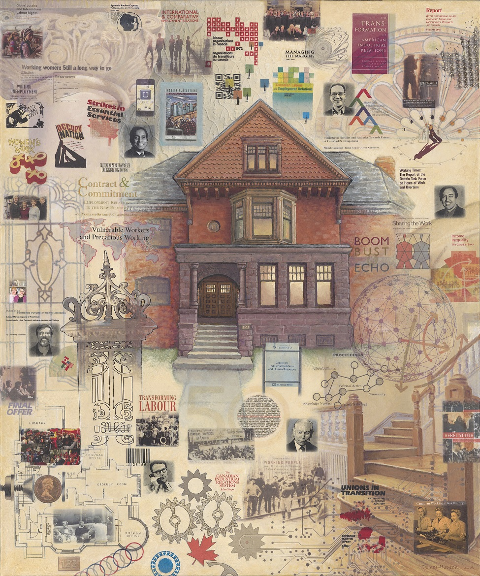 Painting of 121 St George St surrounded by photographs, book covers and architectural details