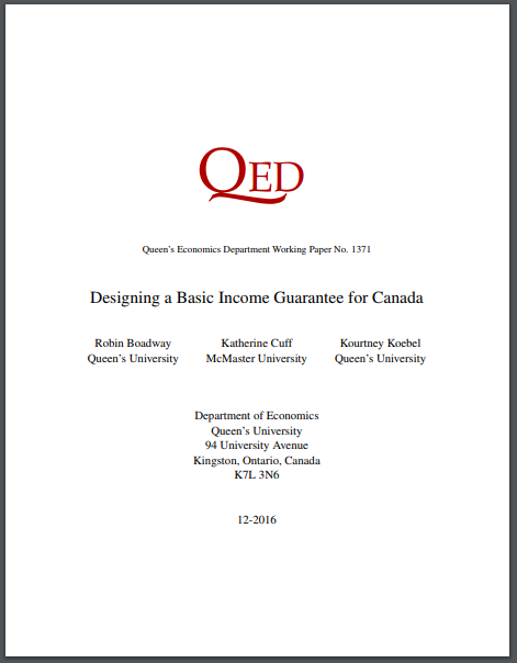 Designing a Basic Income Guarantee for Canada working paper cover