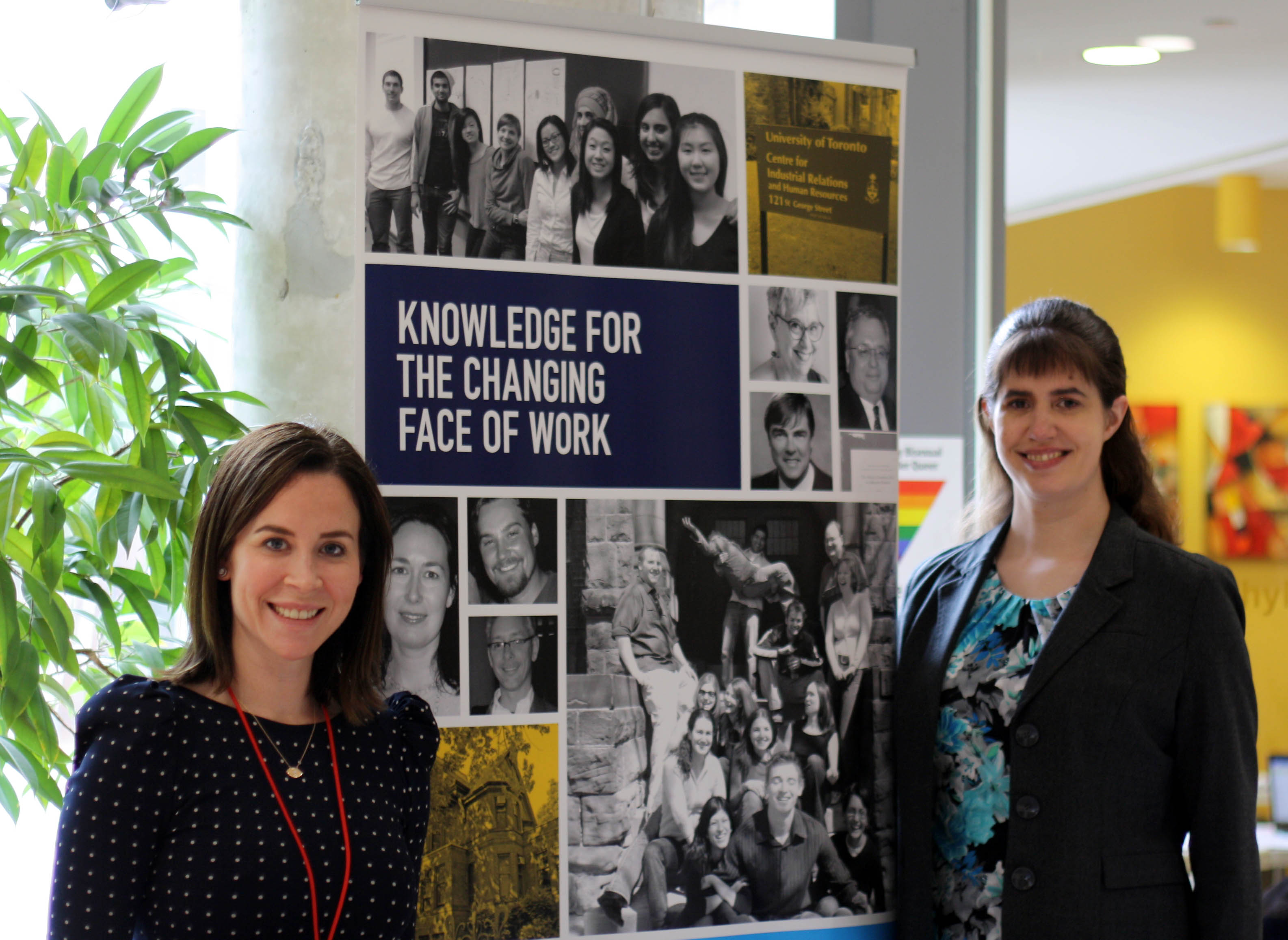 Photo of Anna Gordon and Bernadette King in front of a CIRHR banner