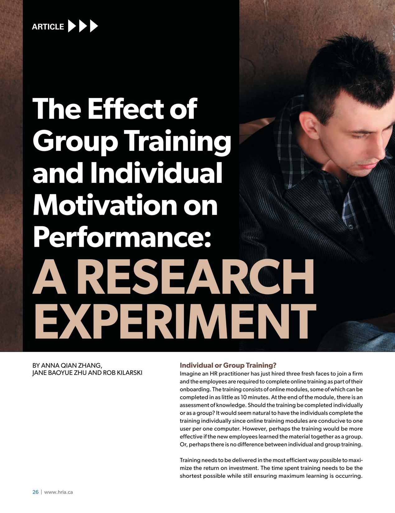 The Effect of Group Training and Individual Motivation of Performance cover