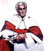 Portrait of Bora Laskin wearing Chief Justice robes
