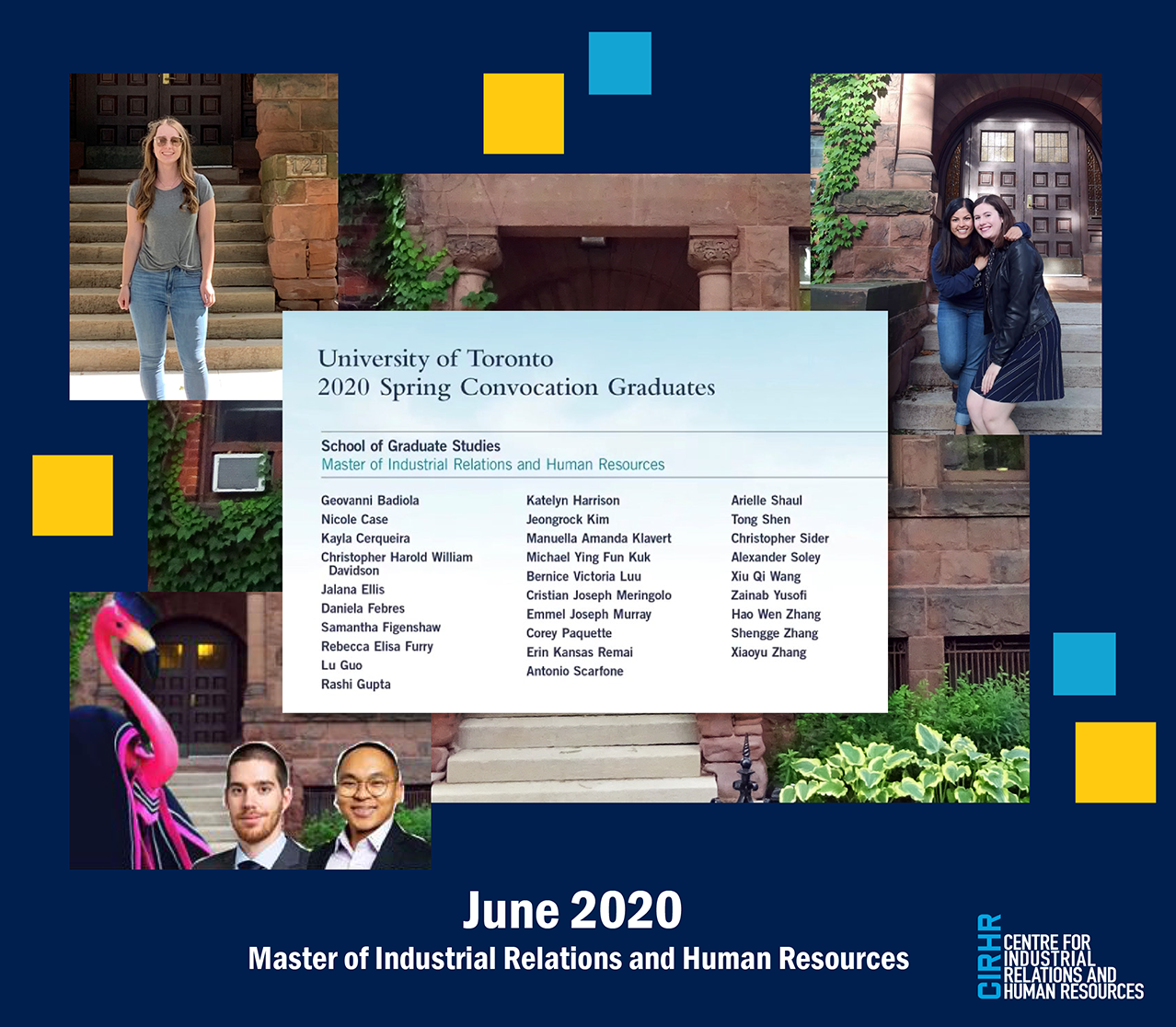 Collage showing members of the graduating class in front of the CIRHR