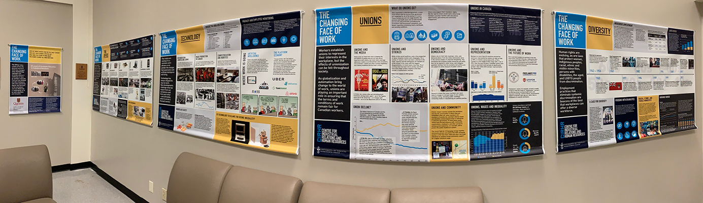 Panoramic photo of the Changing Face of Work Banners on display