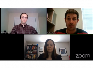 Screen capture of a Zoom call showing Christopher Florio, Padraic Scanlan, and Dionne Pohler,